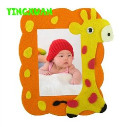 Wholesale 4pcs Kids handmade Animated photo frame DIY Cartoon Animal Picture foto frame for Children Education Toys baby