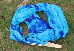 2016 High selling 100% Real Silk Veils 1 Pair handmade women Quality Silk Belly Dance Fan Dance turquoise blue Defilements color 180*90 cm