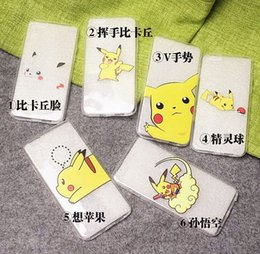 Wholesale Japanese Anime Cartoon Pocket Monsters Pokemons Go Game Pikachu Design Soft TPU Gel Phone Case Cover For iPhone S S Plus
