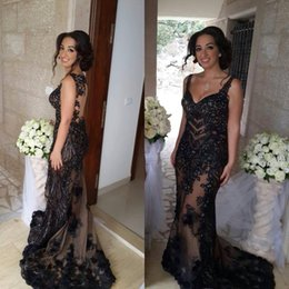 Hanna Toumajean Sheer Neck Evening Dresses Lace Appliques Sequined Black Tulle Party Gown with V Neck Red Carpet Gown