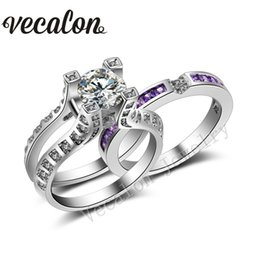 Vecalon 5ct Amethst Simulated diamond cz 2-in-1 Engagement Wedding Band Ring Set for Women 14KT White Gold Filled Party ring