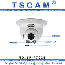 Caméras ip d'un dôme intérieur en Ligne-LED TSCAM new Array Camera HD 720p 1.0MP IP SP-P702E Wired Dome IR Indoor ONVIFRTSP IR Night Vision Micro SD Card Slot