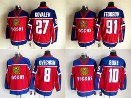 Jerseys olímpicos # 10 del hockey sobre hielo de Rusia New Jersey # 91 Sergei Fedorov # 27 Alexei Kovalev # 8 Igor Larionov Jerseys rojos envío libre desde maillot olímpico rusia proveedores