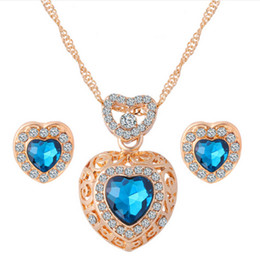 Romantic Heart Pattern Crystal Earrings Necklace Set Silver Gold Plated Chain Jewelry Sets Wedding Jewelry Valentine's Gift 32s40
