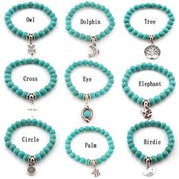 Fashion Turquoise beads bracelets Tree Owl dolphin Cross palm Charm Bracelets For man women Jewelry Accessories