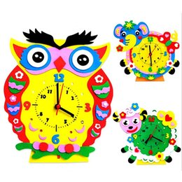 Wholesale Handmade DIY D Cartoon Animal Learning Clock Puzzle Kids Arts Crafts Kits Birthday Educational Gift Toys