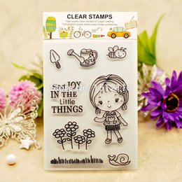 Wholesale Scrapbook DIY photo cards account rubber stamp clear stamp transparent stamp Garden Tool Bee Flower Girl x16cm KW653011