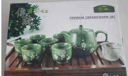 Tea set snowflakes hand-painted tea Japanese and wind ceramic teapot Korean tea pot and tea sets, a pot of 6 cups)