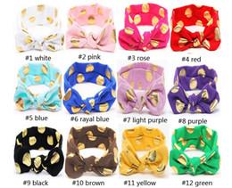 Hot Fashion Baby Bunny Ear Headband 12Colors Baby Gold Dot Headwear Rabbit Ear Baby Hair Accessories