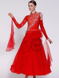long sleeve red Lace ballroom Waltz tango salsa Quick step competition dress one shoulder cutout