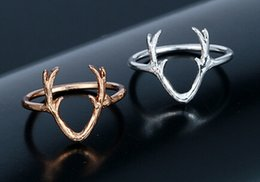 Deer Horn Ring For Women Cute Girl Jewelry Gift Gold Color Silver Color Animal Ring Fashion Style Wholesale