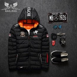 Wholesale Sail Agel S HOT NEW mens winter warm down jacket brand Thick cotton embroidery men down parka coat printing black fashion hooded