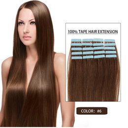 "#6 Tape In Human Hair Extensions Human Tape In Hair Extensions Skin Weft 16""-24"" Top Quality Type Hair Pieces"