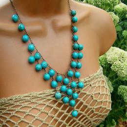 Free Shipping Wholesale Turquoise Stone Pendant Necklace, New Pendant Collar Turquoise Stone Necklace, Wholesale Fashion Trendy Necklace