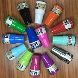 Wholesale Immediately Deliver colors YETI Cups Stainless Steel Tumbler Mugs Pink Blue Light Blue Orange Purple Light Green Gold Yeti Car cup
