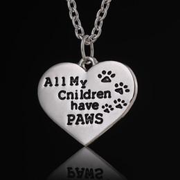 Теги кошки Онлайн-Все мои дети Лапы Письмо выгравированы ожерелье цепи Pet Lover собаки кошка лапой печати Tag серебро сердца ожерелье ожерелья детей