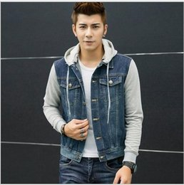 Fall-New Fashion Men's Fleece Hoodies Cowboy Men Jacket Tracksuits Denim Jacket Men Jeans Jacket Men Hoodies And Sweatshirts