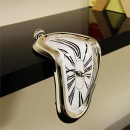 Wholesale Retro Distorted Melting Clock Modern Design Shelf Wall Clocks Irregular Warp Seated Clocks Time Home Decor Family Friend s Gift