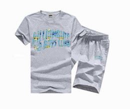 Wholesale Champagne Man Suit - shirt men 2017 New Mens swag Sport casual t shirt Men's Short Sleeve Knitted fabrics suit BBC T-Shirt and pants