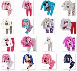Wholesale Minnie Mickey Mouse Dot Leggings Baby Kids Girls Nightwear Outfits Baby Pajamas Sleepwear S l