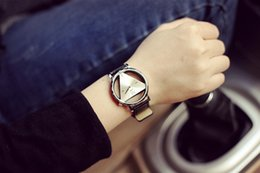 Wholesale women watches outomatic JIS delicate contracted triangle watch personality double sided hollow out the Korean fashion student lovers table