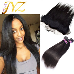 Wholesale Straight Brazilian Hair Straight Human Hair Full lace frontal Free Middle Way With Baby Hair Bleached Knots
