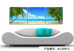 Wholesale Modern Wall Art Home Decoration Printed Oil Painting Pictures Canvas Prints Pieces Coconut Palm Beach Scenery