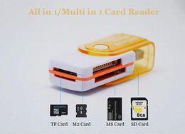 Adaptateurs duo memory stick à vendre-All in 1 USB 2.0 Carte Mémoire Connecteur Adaptateur Lecteur Pour Micro SD MMC SDHC TF M2 Memory Stick MS Duo RS-MMC avec le sac de détail