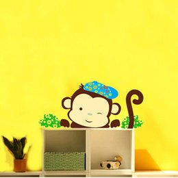 free shipping new cartoon animals monkey wall sticker for kids bedroom living roomdining hall decoration removable Free shipping