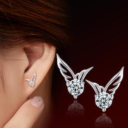Wholesale S925 Sterling Silver Earrings Korean angel wings wings female ear jewelry Fashion Earrings Valentine s Day gift to send his girlfriend a gif