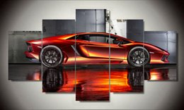 Wall Art Picture 5 Panel Cool Orange Reflective Sports Car Large HD Canvas Print Painting For Living Room Decoration