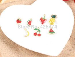 Wholesale Mix Fruit Apple Watermelon Banana Strawberry Cherry Oil Drop Bracelet Charm Phone Chain Decoration Charms Little Alloy Charms