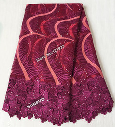 Wholesale Wine Beaded soft french net lace African tulle lace fabric for garden sewing aso ebi high quality yards