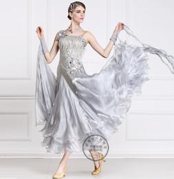 2016 silver beads tassel customize ballroom Waltz tango Quick step competition dress