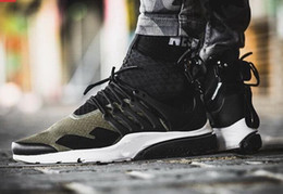Wholesale 2016 Acronym Air Presto Mid Running Shoes Discount Cheap Sneaker Trainers Sportswear Black bamboo Lava olive cargo green Sports Running Shoe
