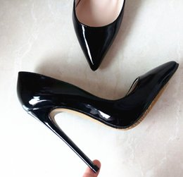 Wholesale Sexy Open Toed Orange Heels - Brand REAL PHOTO Apricot color Bottom Sole High Heels Pumps shoes Pointed Toe PU Patent Leather Ladies Sexy Stiletto 12CM