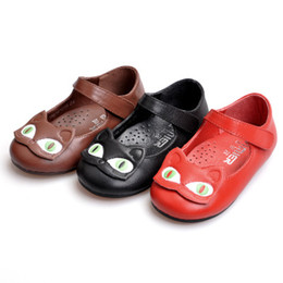 Caoutchouc respirante en Ligne-2016 Nouvelles chaussures demoiselles d'enfants Handmade Cat Cartoon cuir véritable Pigskin LinningShoe-pad respirante Anti-friction Soft Rubber Sole