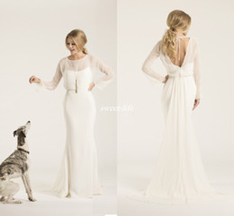 Wholesale Sheath Crew Neck Low Back Amy Kuschel Couture Boho Wedding Dresses With Illusion Long Sleeves Chiffon Simple Bridal Gowns Sweep Train