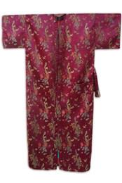 Wholesale-Dropshipping Burgundy Chinese Style Male Silk Bathrobe Summer Lounge Nightwear Classic Kimono Gown Size S M L XL XXL MR016