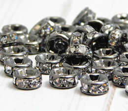 BULK LOTS 50 PCS Gun Black Metal With Clear Crystal Rondelle Rhinestone Beads Spacer Findings For Jewelry Making in 6mm
