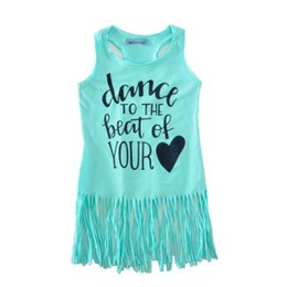 Wholesale baby girl tassel dress summer style letter dance to the best of your heart toddler girls dresses fashion girl baby clothes
