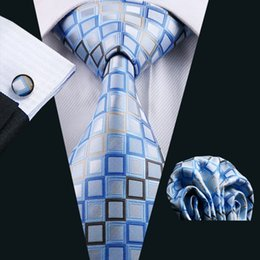 Fashion Accessories New Grid Tie for Men Printed Check Pattern Casual Necktie Blue and White Color Woven Neck Ties N-1128