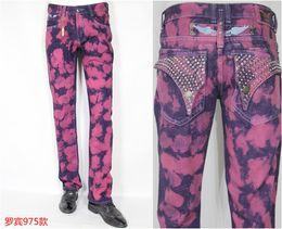 Wholesale Crystal Studded Jeans Men Denim Straight Jeans Cowboy Fashion Robin Famous Brand Rhinestone Mens Jena White Blue Black Classic Jeans
