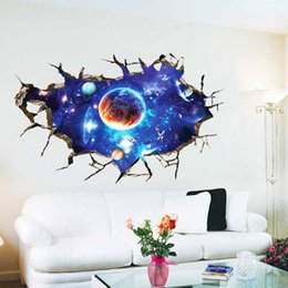 Wholesale The New D Galactic Space Creative Wall Stickers Living Room Bedroom Removable Decorative Interior Decoration Environmental protection