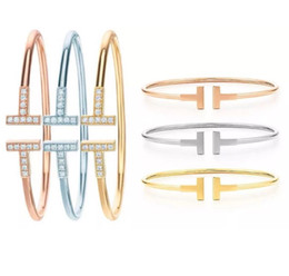 Double T bangle set with zircon for women 18K Gold Rose Gold Silver plated 3color