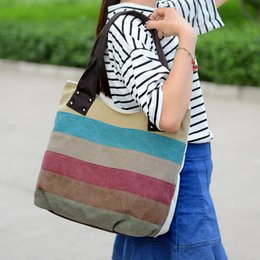 Wholesale The New Hit Color Stitching Canvas Ms Shoulder Messenger Bag Colors Large Discount Factory Outlets Air Transport One From The Grant