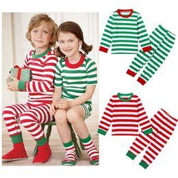 Cute Baby homewear Set Christmas Striped Boys & Girls Long Sleeve T-shirt + Pants set Roupa Infantil Pajamas size choose free