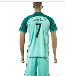Wholesale Top Tailand Quality Euro Cup Portu gal Cristiano Ronaldo Away Green Soccer Jerseys with Shorts Euro Cup Football Shirts