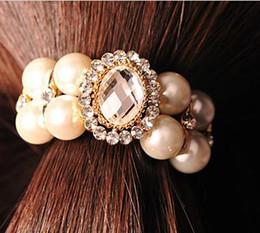 3PCS Fashion Women Girl pure pearl and Austria Rhinestone rubber band Korean hair accessories Rope Ponytail Holder Korean