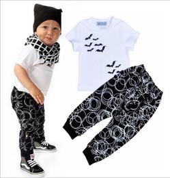 Wholesale NWT INS Cute Baby Girls Boys Outfits Summer pc Sets piece set Cotton Tops shirt Vest Circle Harem Pants Pajamas PJ S Bat